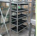 Aluminium greenhouse bench. Click picture to enlarge.