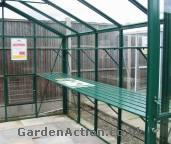 Integral aluminium greenhouse staging. Click to enlarge.